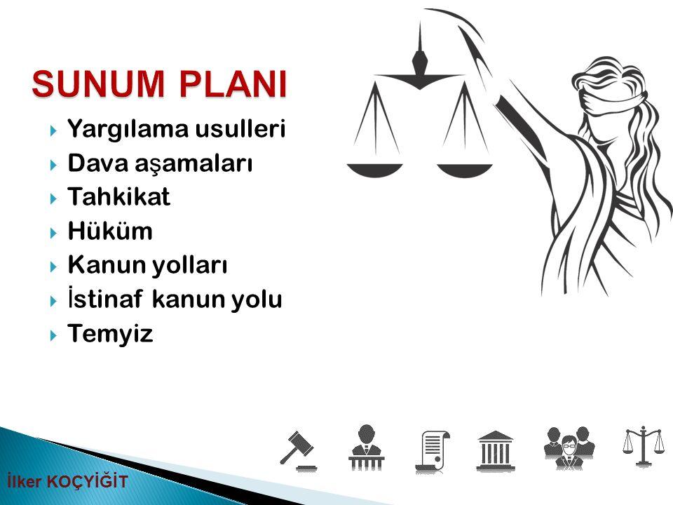 SUNUM PLANI Yargılama usulleri Dava aşamaları Tahkikat Hüküm