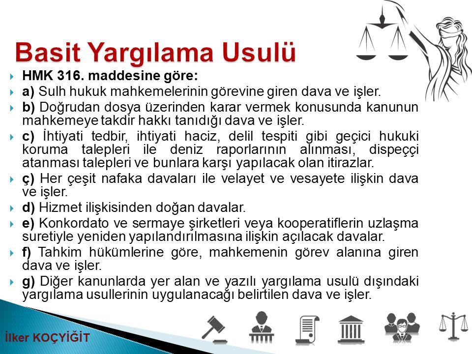 Basit Yargılama Usulü HMK 316. maddesine göre: