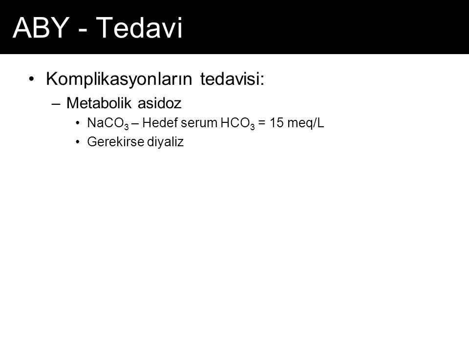 ABY - Tedavi Komplikasyonların tedavisi: Metabolik asidoz