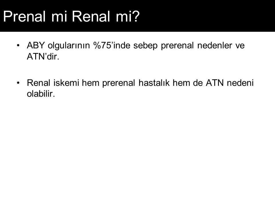 Prenal mi Renal mi. ABY olgularının %75'inde sebep prerenal nedenler ve ATN'dir.