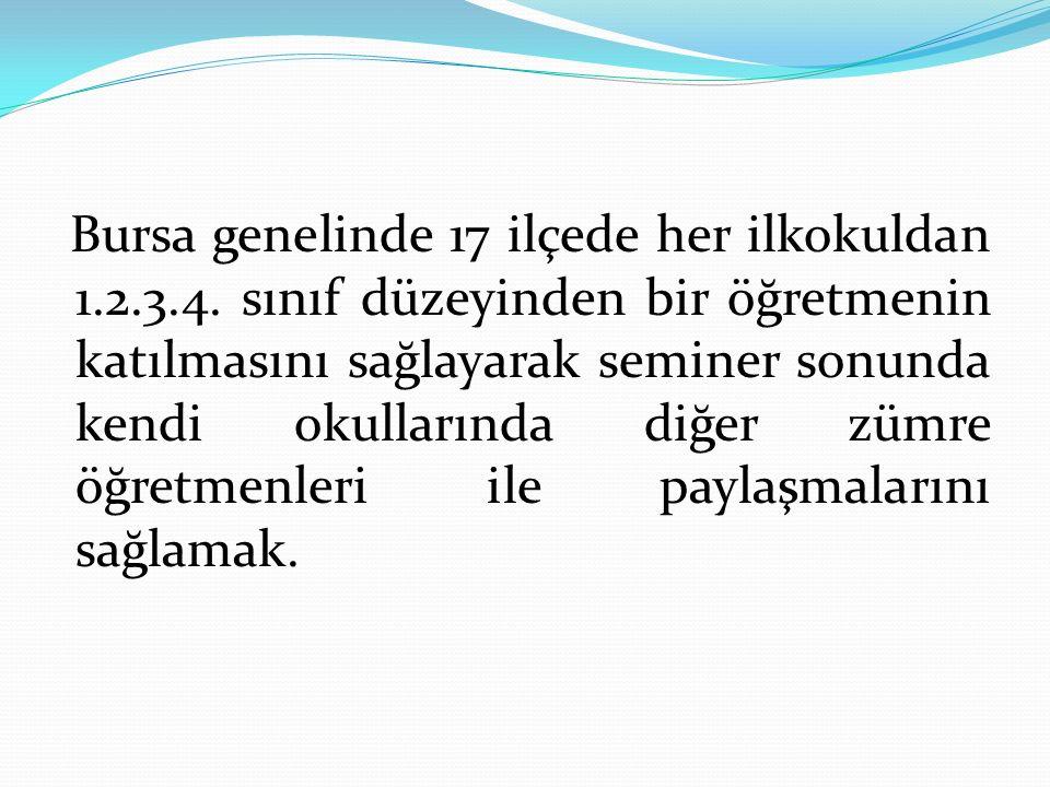 Bursa genelinde 17 ilçede her ilkokuldan 1. 2. 3. 4