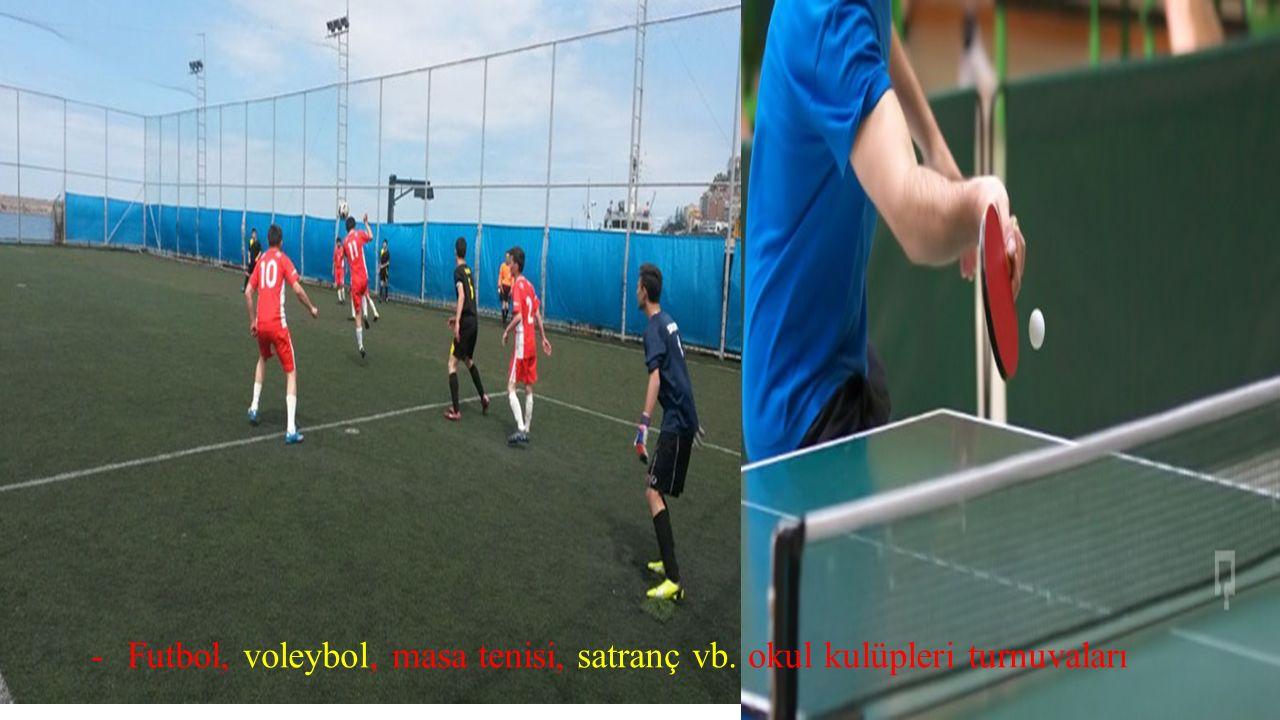 Futbol, voleybol, masa tenisi, satranç vb. okul kulüpleri turnuvaları