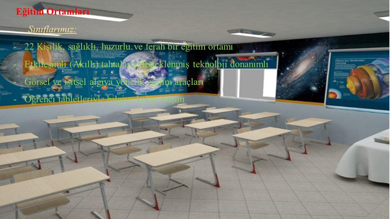 Eğitim Ortamları Sınıflarımız: 22 Kişilik, sağlıklı, huzurlu ve ferah bir eğitim ortamı.