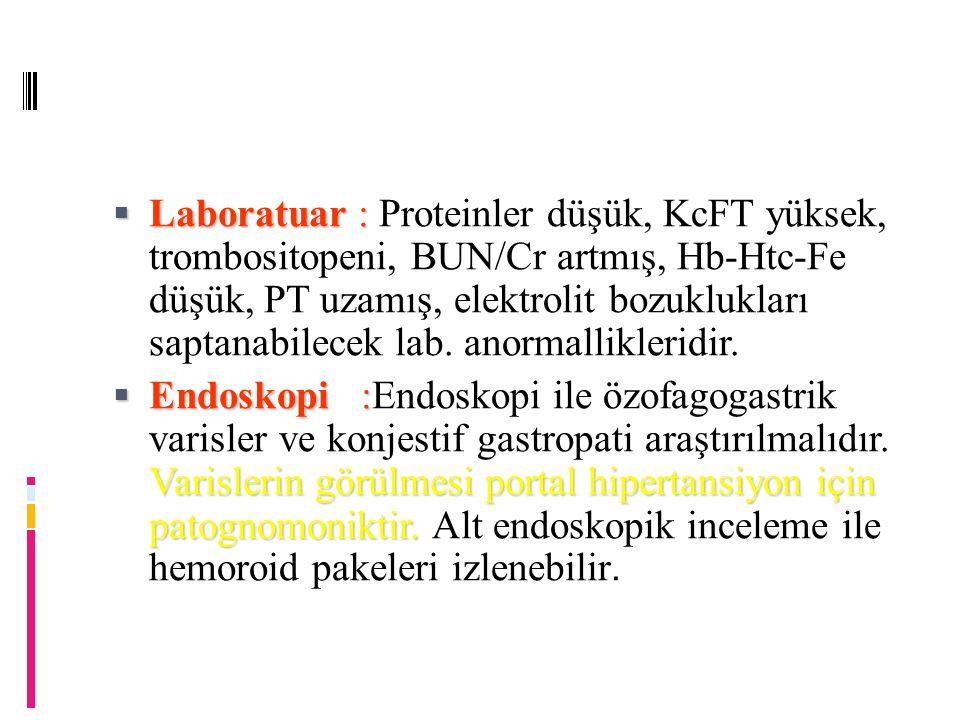 Laboratuar : Proteinler düşük, KcFT yüksek, trombositopeni, BUN/Cr artmış, Hb-Htc-Fe düşük, PT uzamış, elektrolit bozuklukları saptanabilecek lab. anormallikleridir.