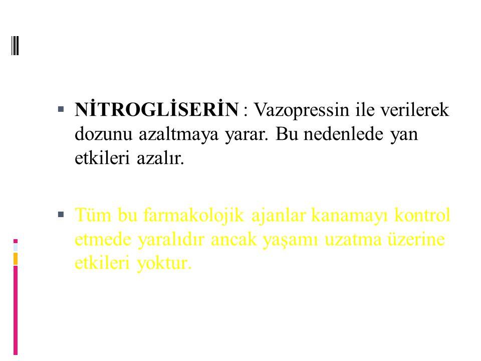 NİTROGLİSERİN : Vazopressin ile verilerek dozunu azaltmaya yarar