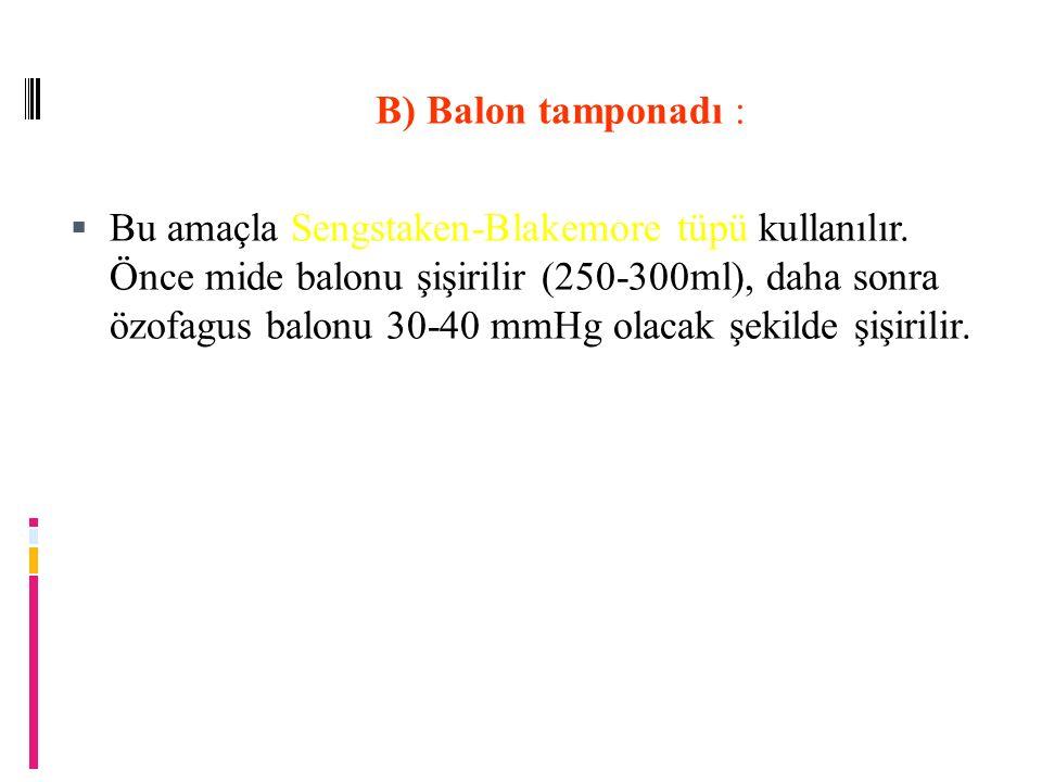 B) Balon tamponadı :