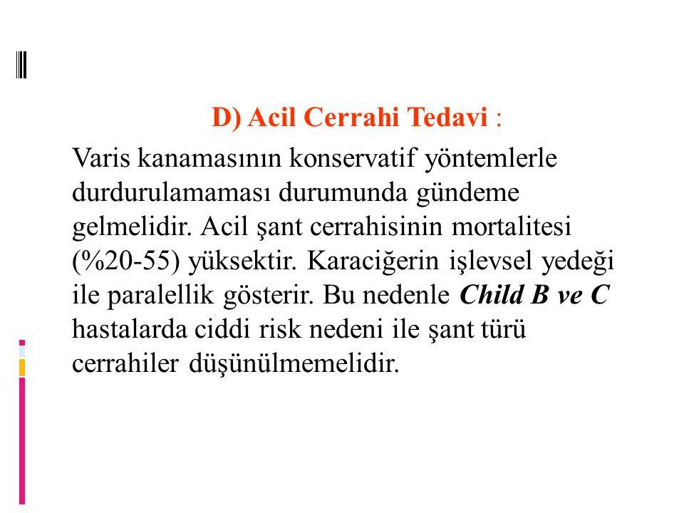 D) Acil Cerrahi Tedavi :