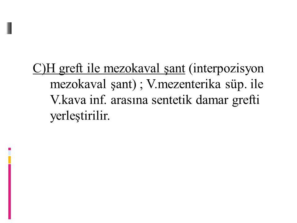 C)H greft ile mezokaval şant (interpozisyon mezokaval şant) ; V