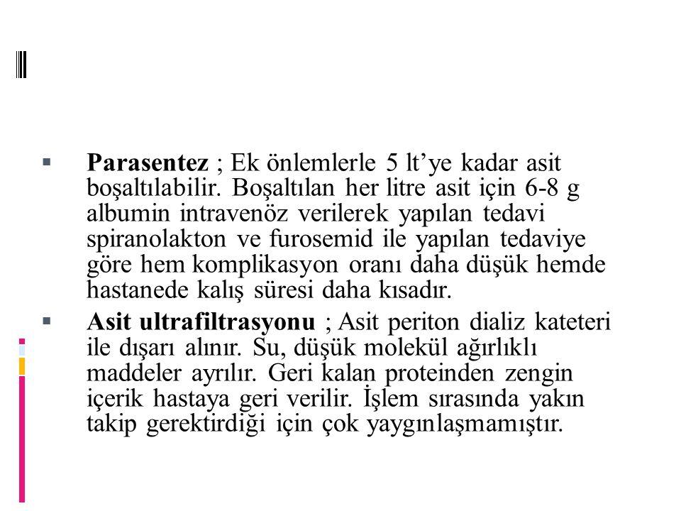 Parasentez ; Ek önlemlerle 5 lt'ye kadar asit boşaltılabilir