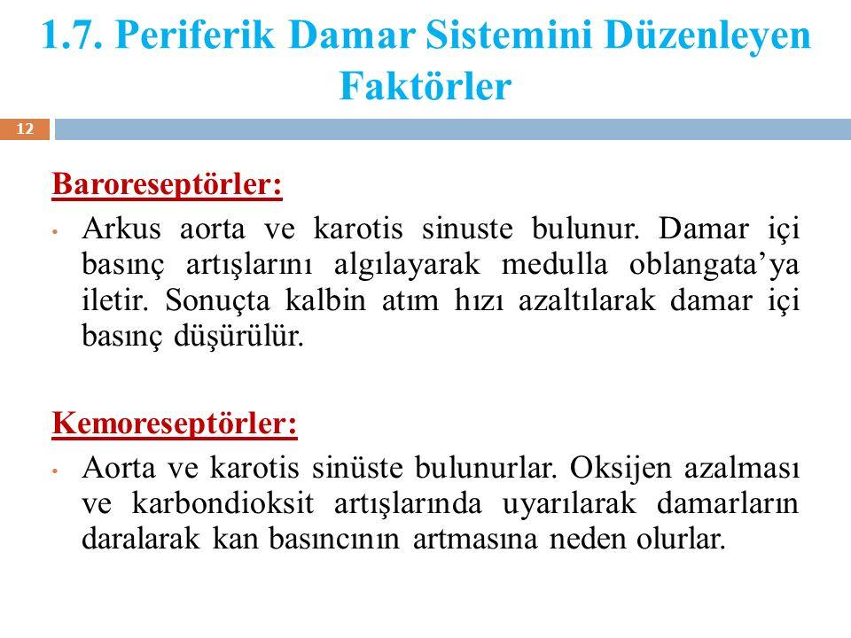 1.7. Periferik Damar Sistemini Düzenleyen Faktörler