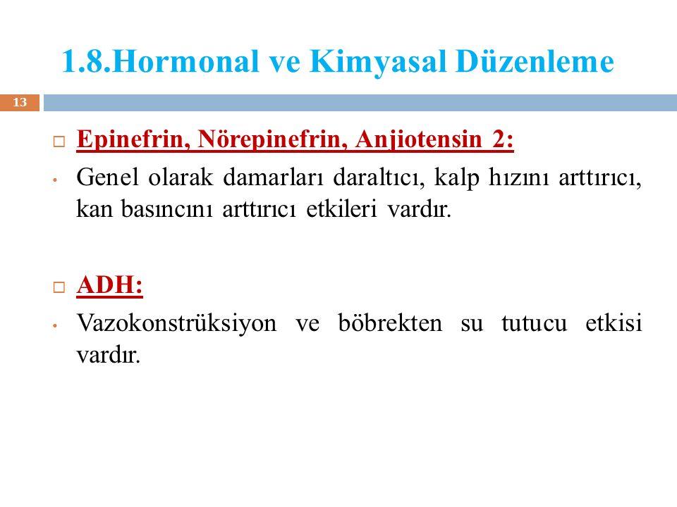 1.8.Hormonal ve Kimyasal Düzenleme