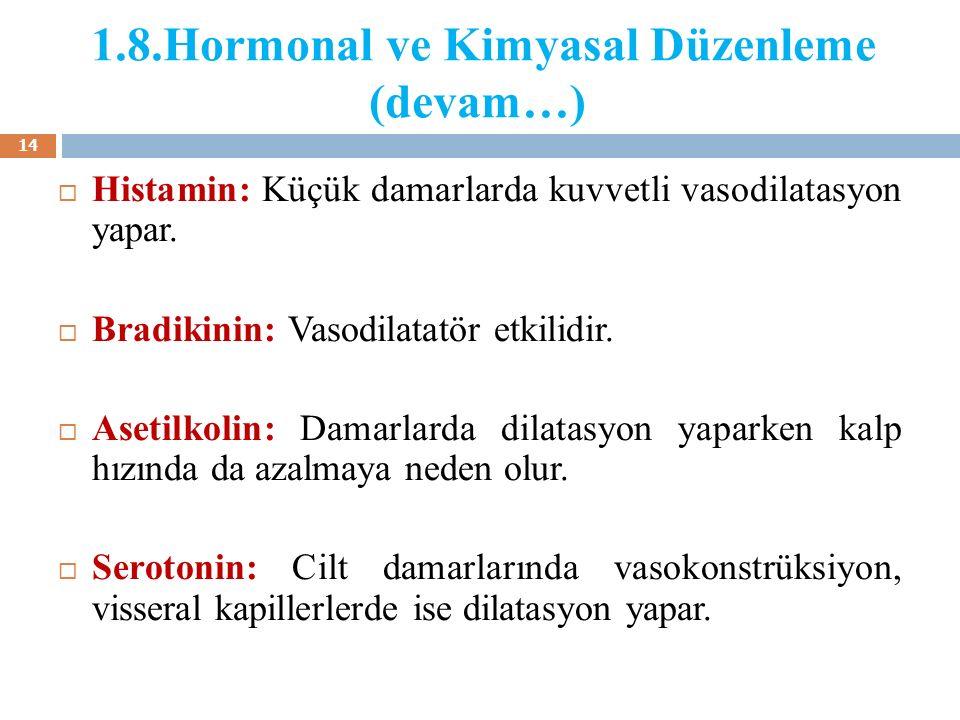 1.8.Hormonal ve Kimyasal Düzenleme (devam…)