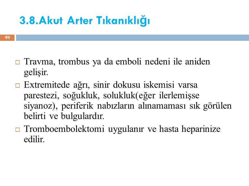 3.8.Akut Arter Tıkanıklığı