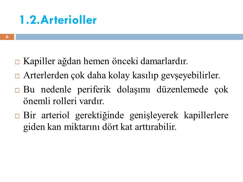1.2.Arterioller Kapiller ağdan hemen önceki damarlardır.