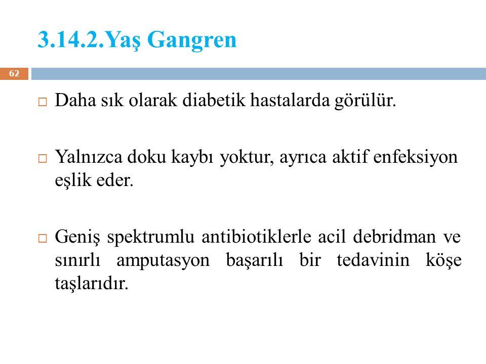 3.14.2.Yaş Gangren Daha sık olarak diabetik hastalarda görülür.