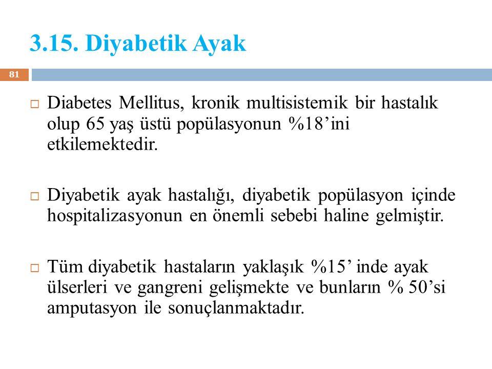 3.15. Diyabetik Ayak Diabetes Mellitus, kronik multisistemik bir hastalık olup 65 yaş üstü popülasyonun %18'ini etkilemektedir.