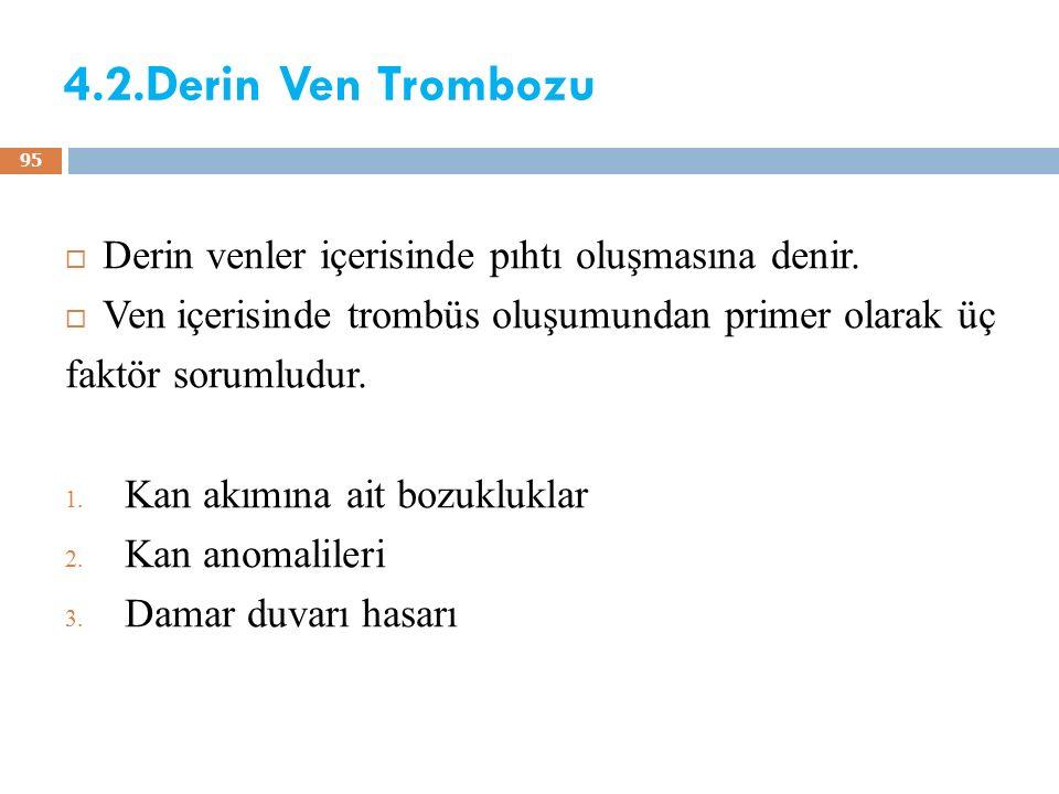 4.2.Derin Ven Trombozu Derin venler içerisinde pıhtı oluşmasına denir.