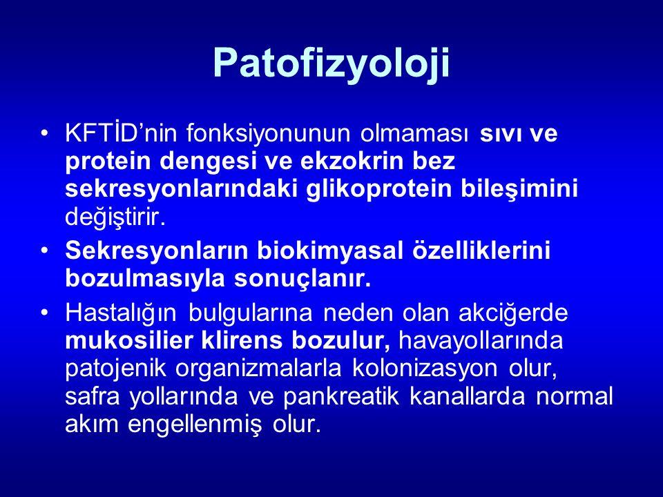 Patofizyoloji KFTİD'nin fonksiyonunun olmaması sıvı ve protein dengesi ve ekzokrin bez sekresyonlarındaki glikoprotein bileşimini değiştirir.