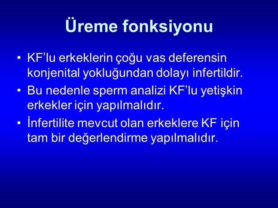 Üreme fonksiyonu KF'lu erkeklerin çoğu vas deferensin konjenital yokluğundan dolayı infertildir.