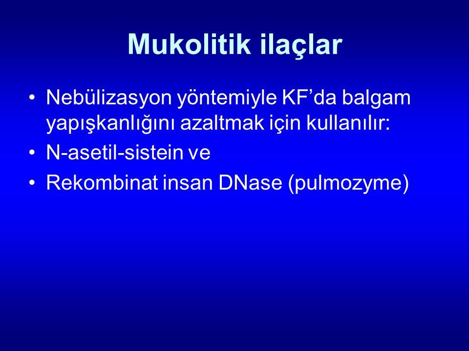 Mukolitik ilaçlar Nebülizasyon yöntemiyle KF'da balgam yapışkanlığını azaltmak için kullanılır: N-asetil-sistein ve.