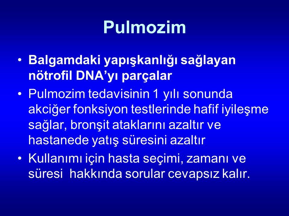 Pulmozim Balgamdaki yapışkanlığı sağlayan nötrofil DNA'yı parçalar
