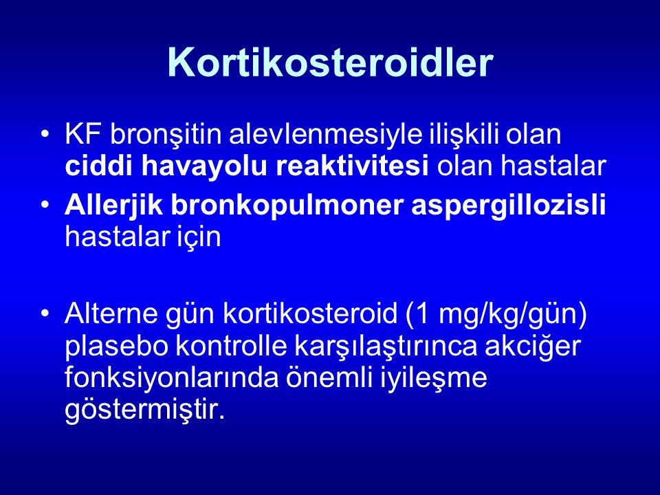 Kortikosteroidler KF bronşitin alevlenmesiyle ilişkili olan ciddi havayolu reaktivitesi olan hastalar.