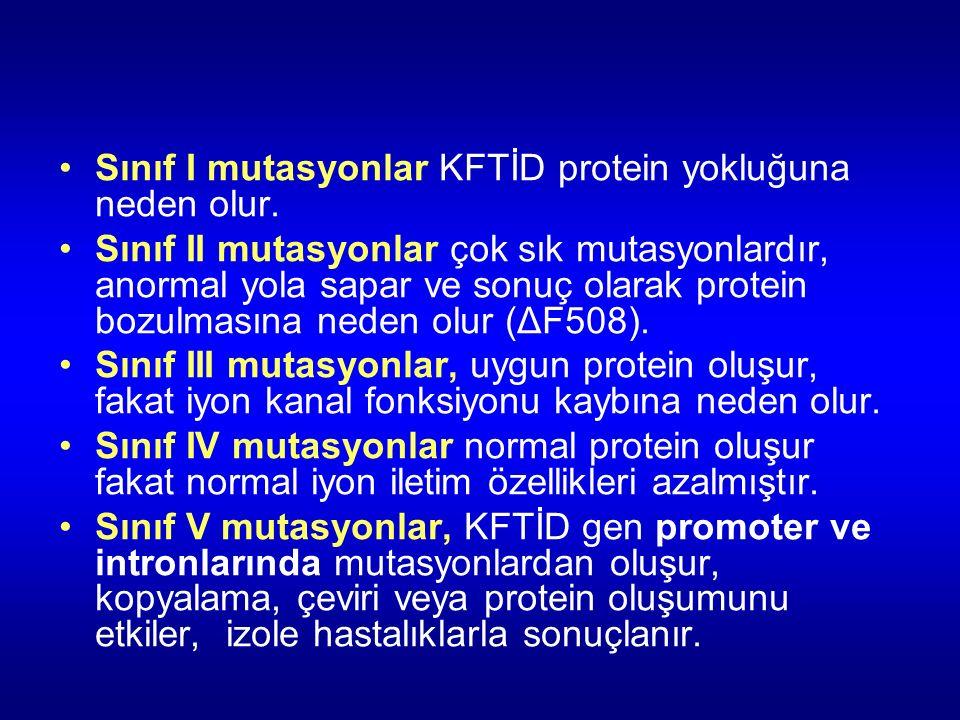 Sınıf I mutasyonlar KFTİD protein yokluğuna neden olur.