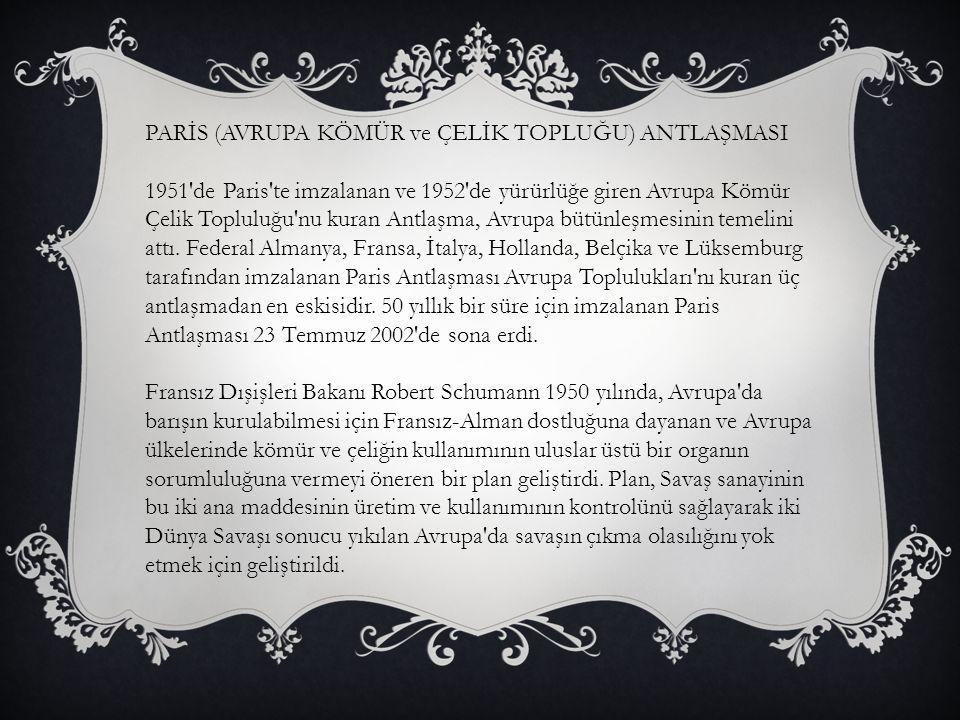 PARİS (AVRUPA KÖMÜR ve ÇELİK TOPLUĞU) ANTLAŞMASI