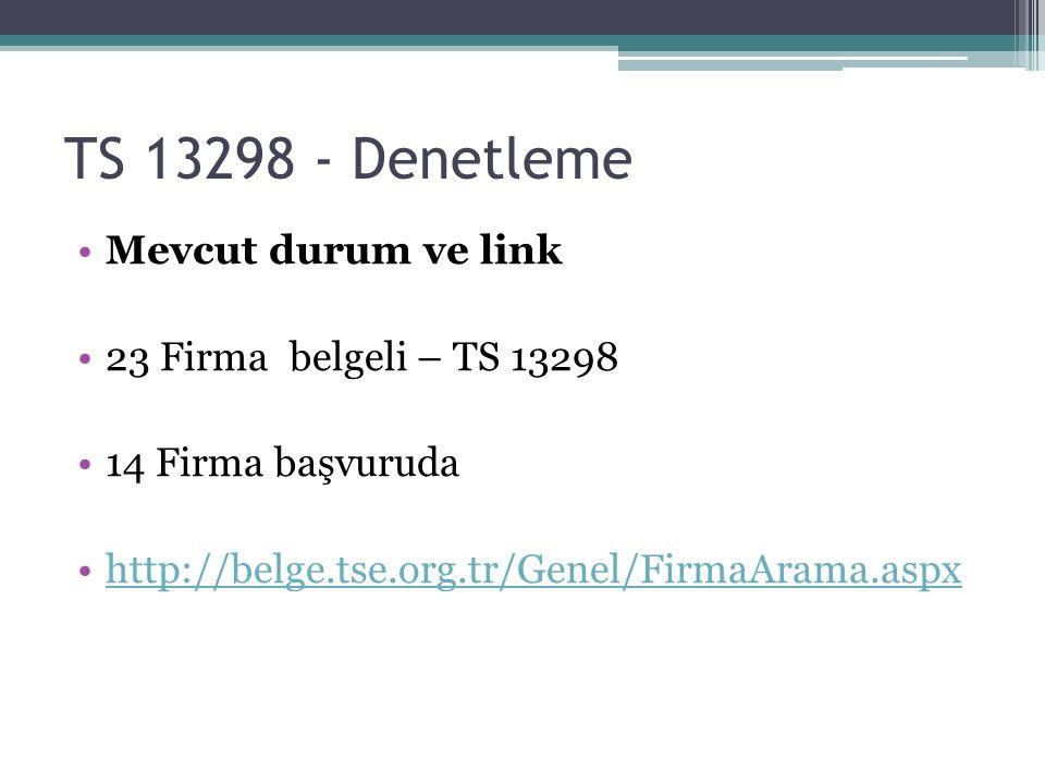 TS 13298 - Denetleme Mevcut durum ve link 23 Firma belgeli – TS 13298