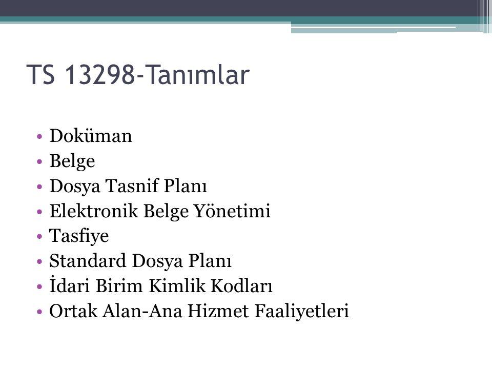 TS 13298-Tanımlar Doküman Belge Dosya Tasnif Planı