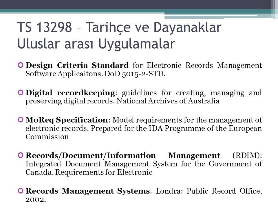 TS 13298 – Tarihçe ve Dayanaklar Uluslar arası Uygulamalar