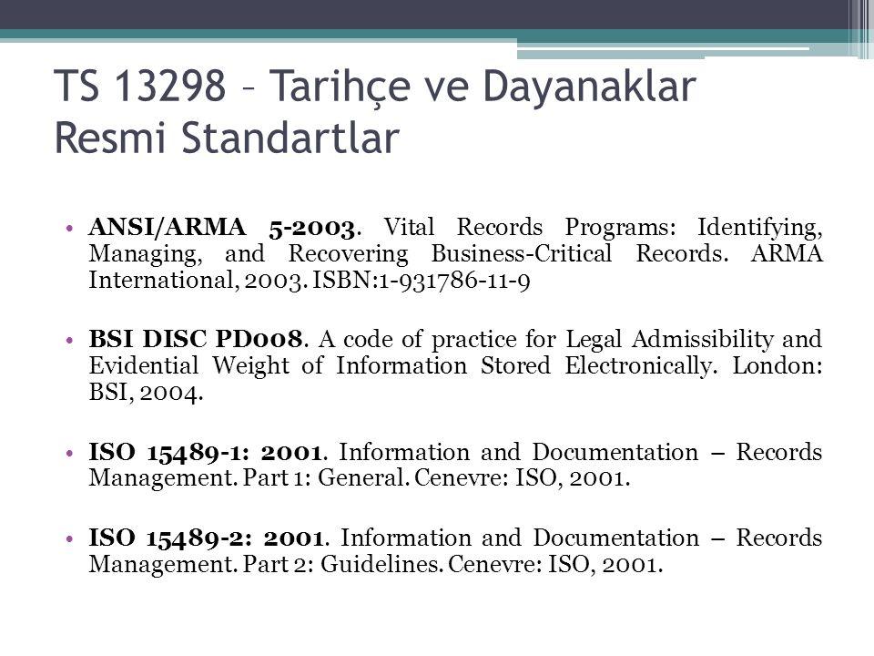 TS 13298 – Tarihçe ve Dayanaklar Resmi Standartlar