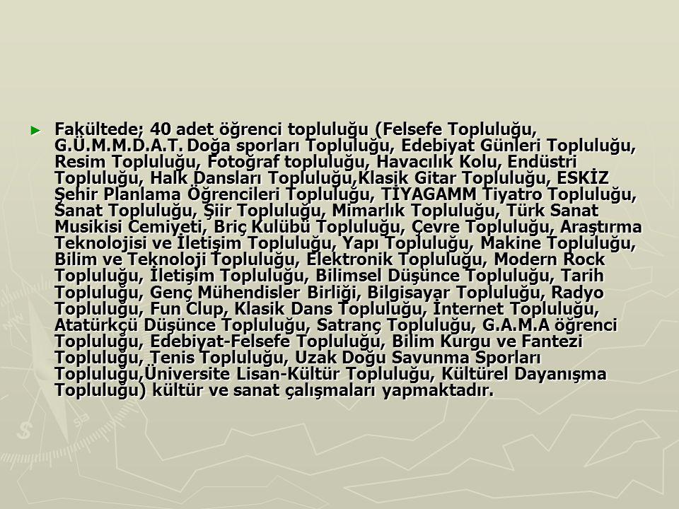 Fakültede; 40 adet öğrenci topluluğu (Felsefe Topluluğu, G. Ü. M. M. D