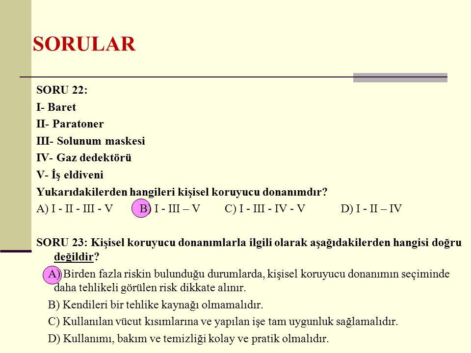SORULAR SORU 22: I- Baret II- Paratoner III- Solunum maskesi