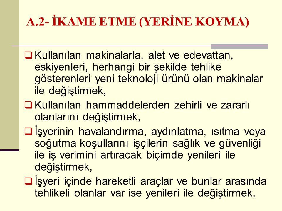 A.2- İKAME ETME (YERİNE KOYMA)