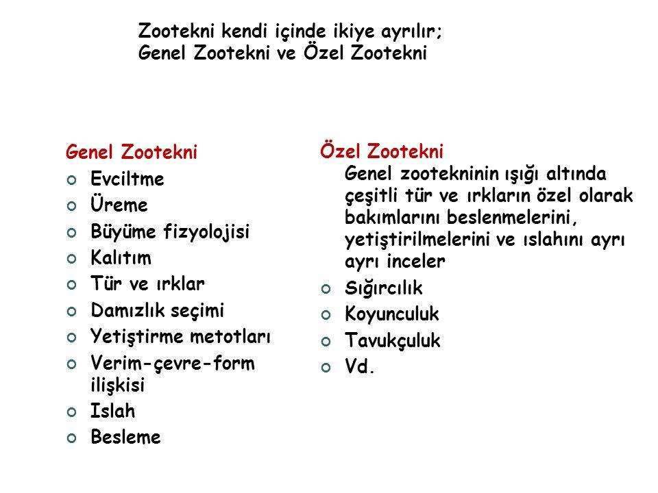 Zootekni kendi içinde ikiye ayrılır; Genel Zootekni ve Özel Zootekni