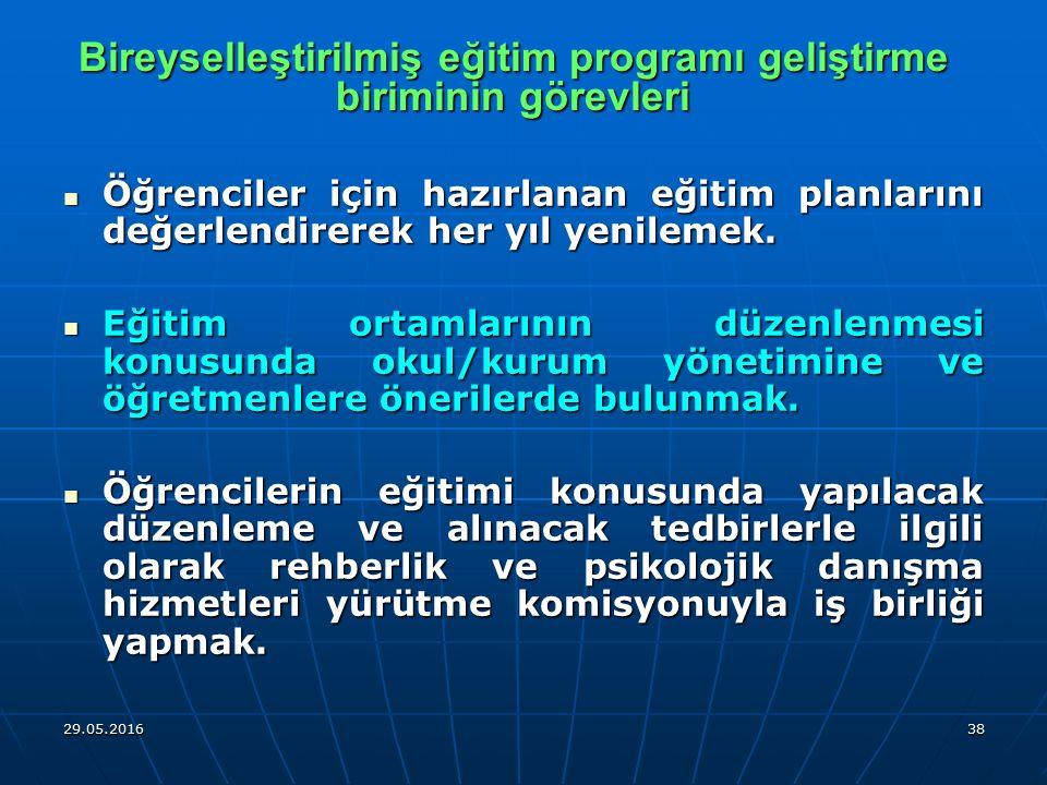 Bireyselleştirilmiş eğitim programı geliştirme biriminin görevleri