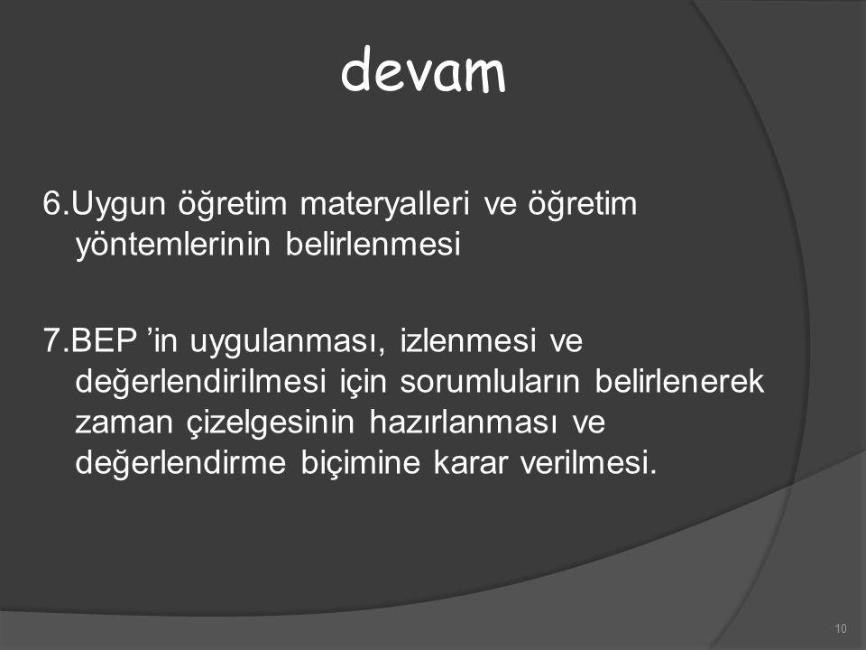 devam 6.Uygun öğretim materyalleri ve öğretim yöntemlerinin belirlenmesi.