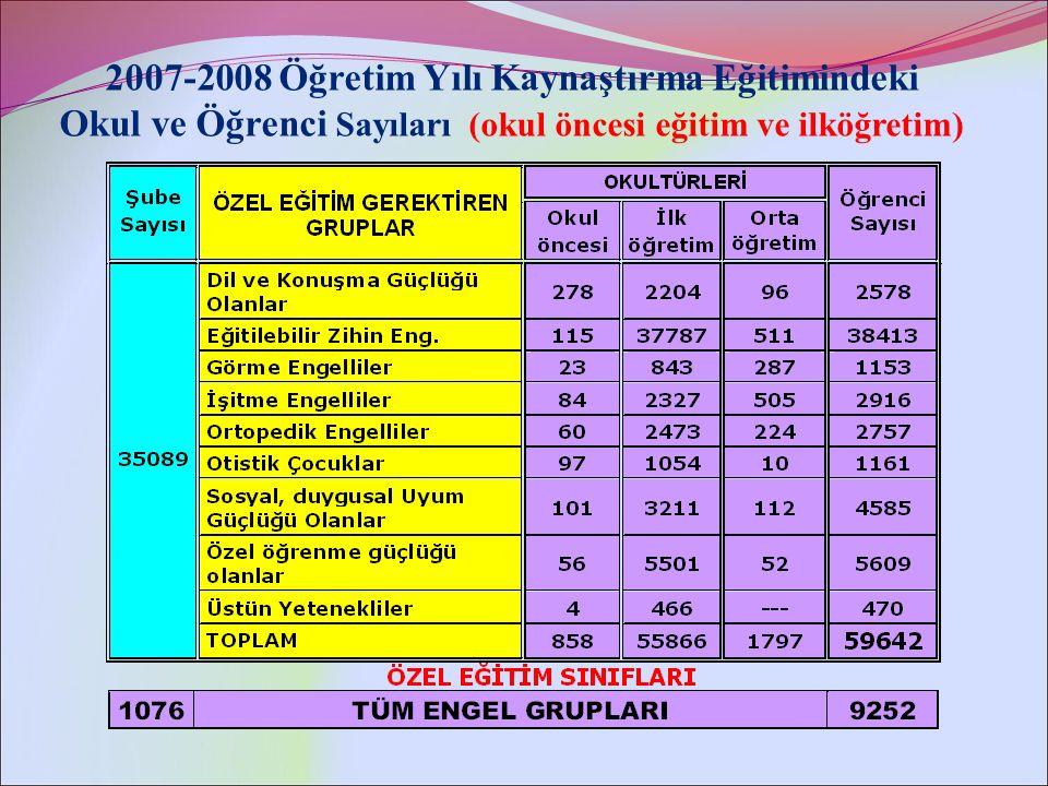 2007-2008 Öğretim Yılı Kaynaştırma Eğitimindeki