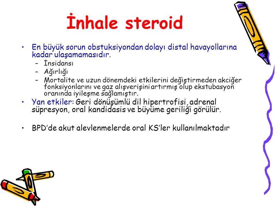 İnhale steroid En büyük sorun obstuksiyondan dolayı distal havayollarına kadar ulaşamamasıdır. İnsidansı.