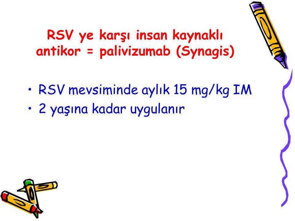 RSV ye karşı insan kaynaklı antikor = palivizumab (Synagis)