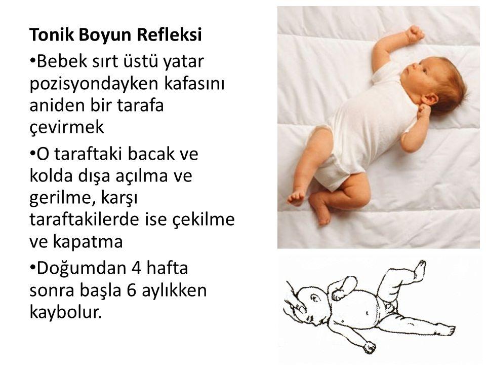 Tonik Boyun Refleksi Bebek sırt üstü yatar pozisyondayken kafasını aniden bir tarafa çevirmek.
