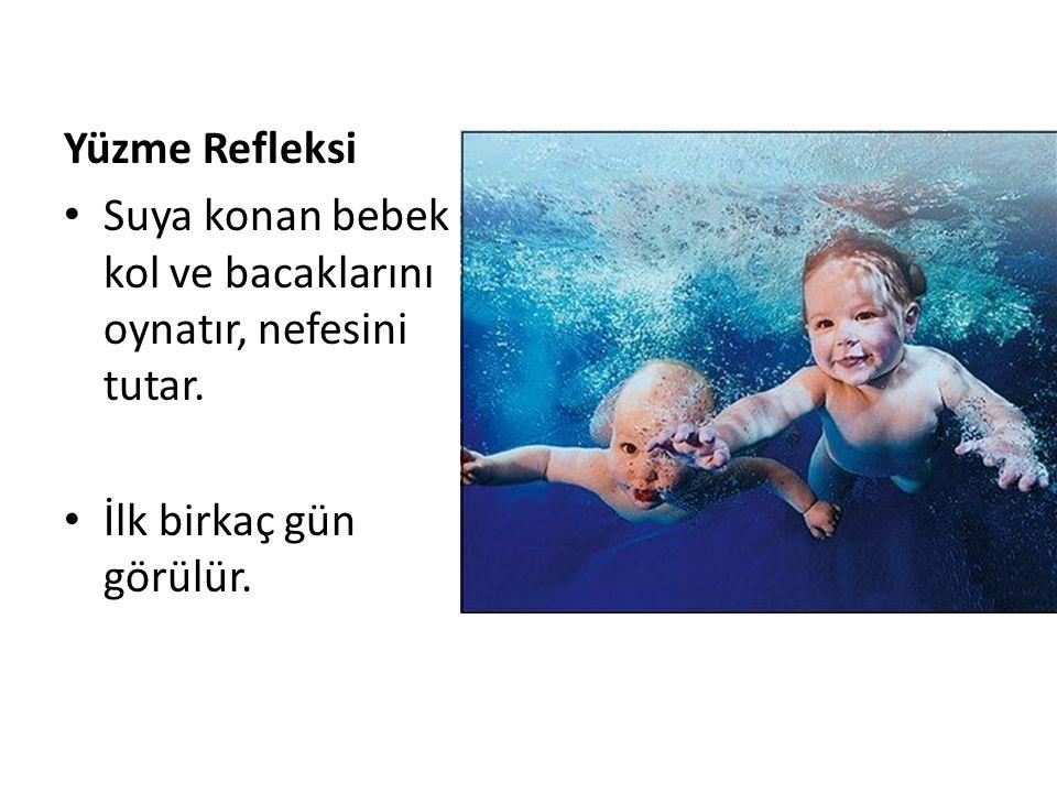 Yüzme Refleksi Suya konan bebek kol ve bacaklarını oynatır, nefesini tutar. İlk birkaç gün görülür.