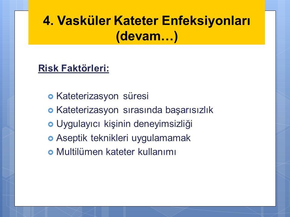 4. Vasküler Kateter Enfeksiyonları (devam…)