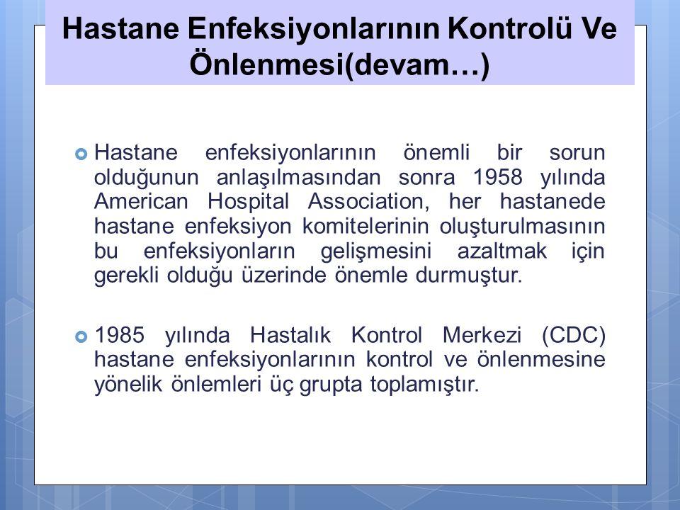 Hastane Enfeksiyonlarının Kontrolü Ve Önlenmesi(devam…)