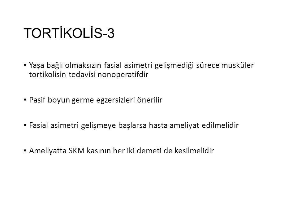 TORTİKOLİS-3 Yaşa bağlı olmaksızın fasial asimetri gelişmediği sürece musküler tortikolisin tedavisi nonoperatifdir.