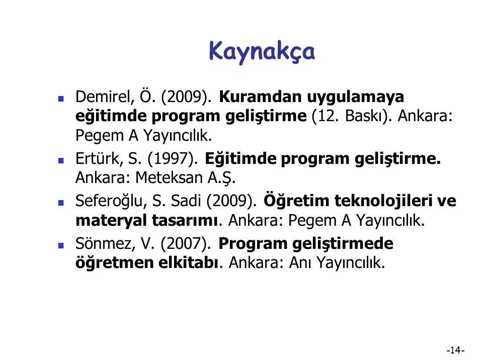 Kaynakça Demirel, Ö. (2009). Kuramdan uygulamaya eğitimde program geliştirme (12. Baskı). Ankara: Pegem A Yayıncılık.
