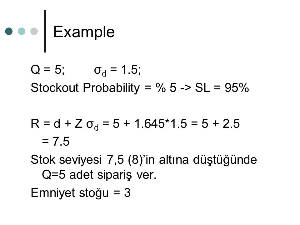 Example Q = 5; σd = 1.5; Stockout Probability = % 5 -> SL = 95%