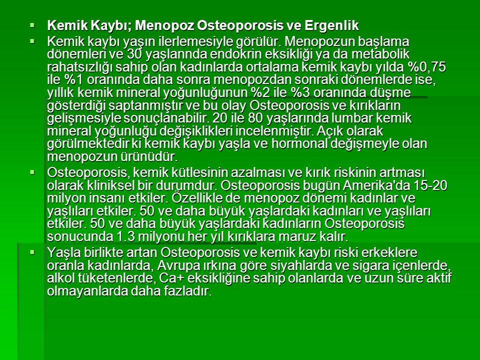 Kemik Kaybı; Menopoz Osteoporosis ve Ergenlik