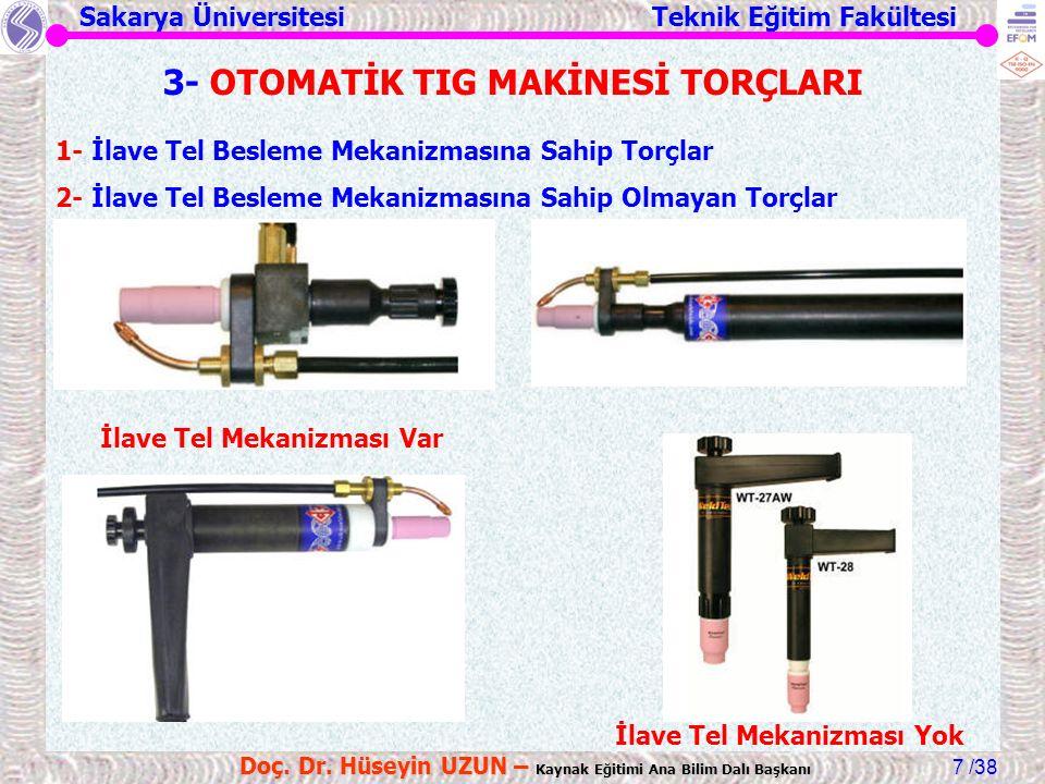 3- OTOMATİK TIG MAKİNESİ TORÇLARI